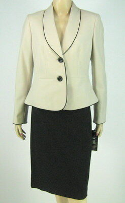 Le Suit Summer Teal White Jacket Blazer Skirt Suit $200 New 9265