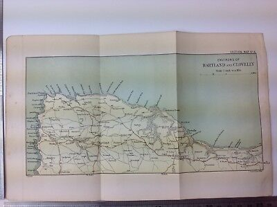 Environs Of Heartland And Clovelly, 1904, Antique Map,  Atlas, Bartholomew