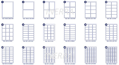 A4 Sheets Printer Blank Labels Mailing - 18 sizes - Return Address Stickers