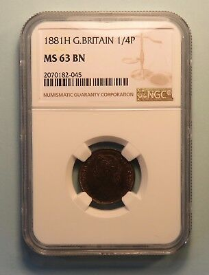 1881 H Great Britain Farthing Coin NGC Graded MS63 Queen Victoria UK England Unc