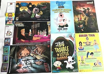 SDCC 2018 Family Guy Promo Poster Futurama BOBS BURGERS ARCHER POSTER BUTTONS