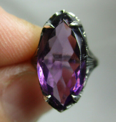 Antique Estate Sterling Silver 925 Ring with Purple Stone - 3.3 Grams - Size 2.5
