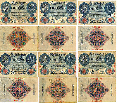 Lot of 6 German Empire Genuine 20 Mark Banknotes 1914 ___________ _ 1914-BMW