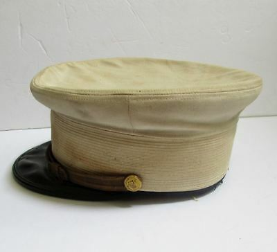 Vintage Antique Firemans Dress Hat Brunssen NYC With Gold FD Buttons 7-1/8