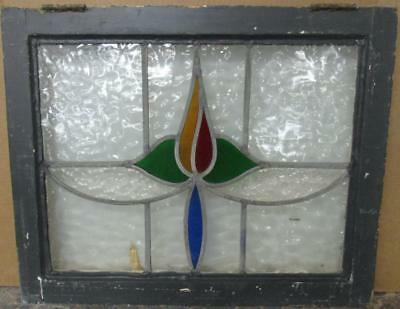 "MID SIZED OLD ENGLISH LEADED STAINED GLASS WINDOW Gorgeous Floral 23"" x 18.5"""