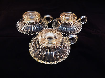 3 Vintage Antique Spiral Cross Hatch Clear Glass Chamberstick Candle Holders