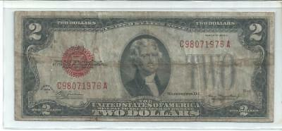 1928 D $2 Dollar Red Seal Note. Nice
