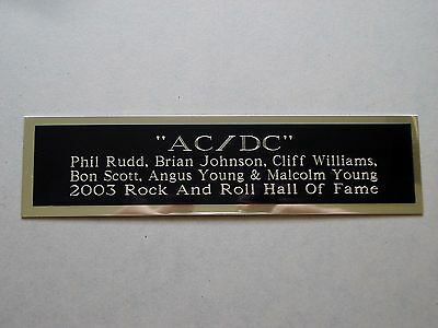 "AC/DC Nameplate For An Autographed Concert Poster Album Or Photograph 1.5"" X 6"""