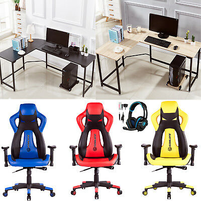 New High Back Racing Car Gaming Chair/L-Shape Corner Computer Desk/708GT headset