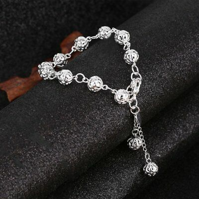 2PCS Fashion Women Silver Plated Stand Bracelet Bangle Jewelry Sets Gift HY