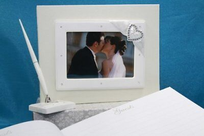 Wedding Engagement Party Diamante Heart Photo Frame Guest Book Keepsake