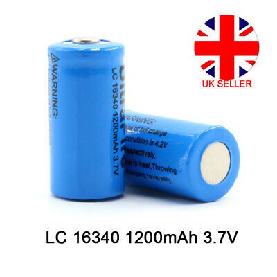 16340 Rechargeable Lithium Li-ion Battery 1200mAh 3.7V For Flashlight Torch UK
