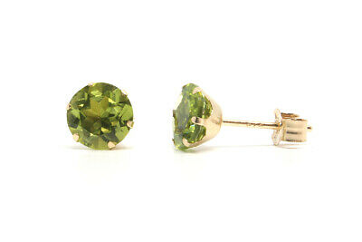 9ct Gold Peridot Round Stud earrings Gift Boxed Studs Made in UK