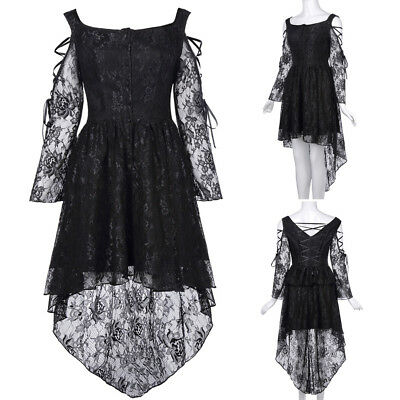 Womens Retro Vintage Gothic Victorian VTG Long Sleeve Steampunk Lace Party Dress
