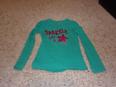 "Girls ""Faded Glory"" Green Long Sleeve ""Sparkle Like A Star"" Shirt Size L(10-12)"