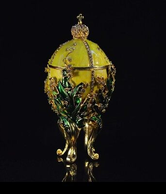 Russian Imperial Lime Yellow Lilies Of the Valley Faberge Egg $ decorative box