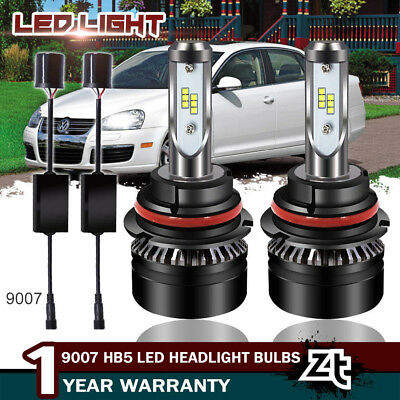 9007 HB5 Black LED Headlight Bulbs Hi/Low Beam Kit 60W 7600LM 6000K White Lamps