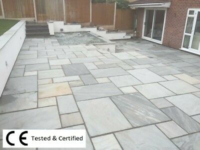 Silver Kandla Grey 19.5m2 Indian sandstone paving slabs flags ✔ Free Brochure ✔