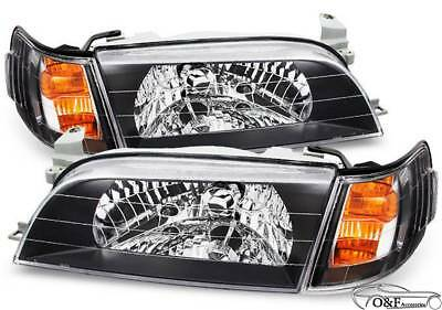 For 93 97 Toyota Corolla Headlights Black And Front Mesh Grill Metallic Combo