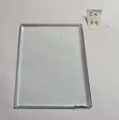 Bevelled glass panel for carriage clock or similar 5.9 cms x 7.9 cms