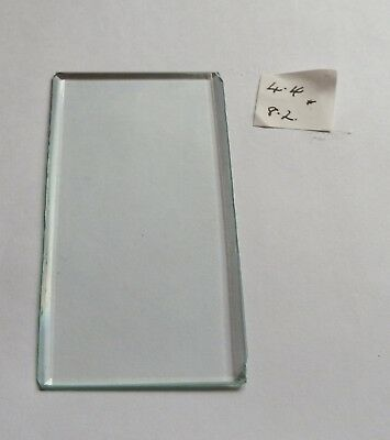 Bevelled glass panel for carriage clock or similar 4.4 cms x 8.2 cms