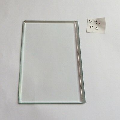 Bevelled glass panel for carriage clock or similar 5.9 cms x 8.6 cms
