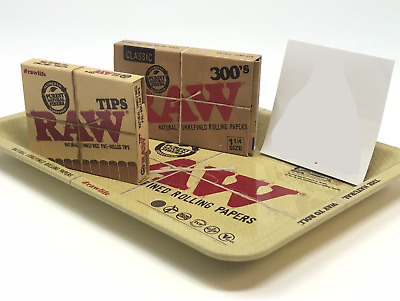 Bundle Combo 1x RAW Classic 300's Rolling Paper & 1x PreRolled Tips + Mini Tray