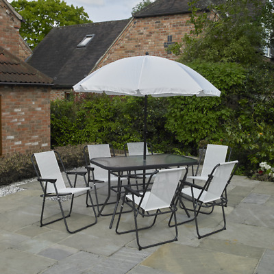 8pc Cream Garden Patio Furniture Set 6 Seater Dining Set Parasol Table & Chairs