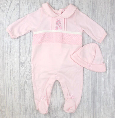 Baby Girls Spanish Style Romany Traditional Smocked Pink Babygrow & Hat Outfit
