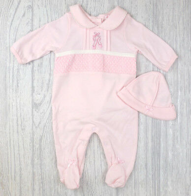 Baby Girls Spanish Style Traditional Smocked Pink Babygrow & Hat Outfit AW'18