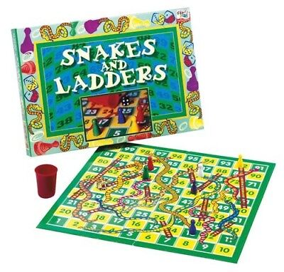 Kids Indoor Fun Playing Activity Traditional Snakes & Ladders Board Game Age 6+