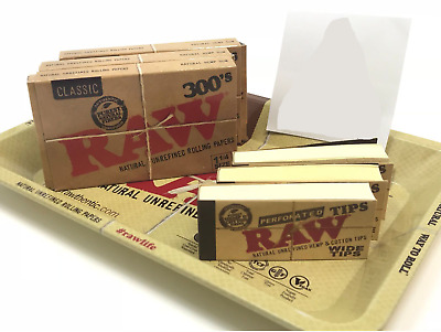Bundle Combo 3x RAW Classic 300's Rolling Paper & 3x Perforated Tips + Mini Tray