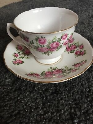 Vintage Floral Tea Cup And Saucer Royal Vale Bone China