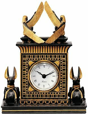 Egyptian Revival Style God Anubis Winged Goddess Isis Quartz Desk Mantle Clock
