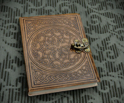 Hand Bound Supple Embossed Real Leather Celtic Knotwork Journal w Brass Clasp