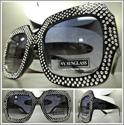 214ac33f0aa9 OVERSIZED EXAGGERATED VINTAGE RETRO Style SUN GLASSES Square Bling Black  Frame