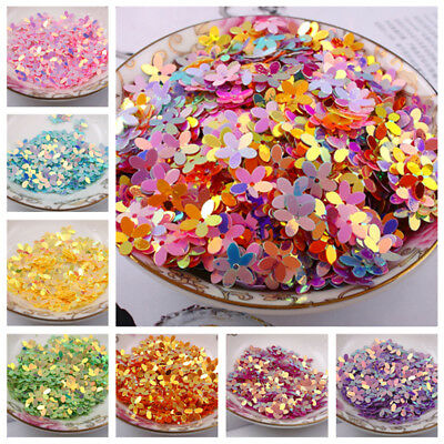100Pcs Flower Shaped Loose Shimmer Sequins Paillette DIY Cloth Sewing 10mm