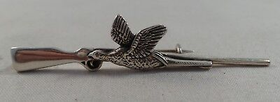 Nice Sterling Silver Rifle And Pheasant Pin /  Badge / Brooch