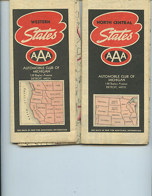 "(2) 1939 Aaa ""western States"" And ""north Central States"" Road Maps (Nice)"