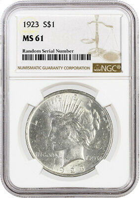 1923 $1 Silver Peace Dollar NGC MS61