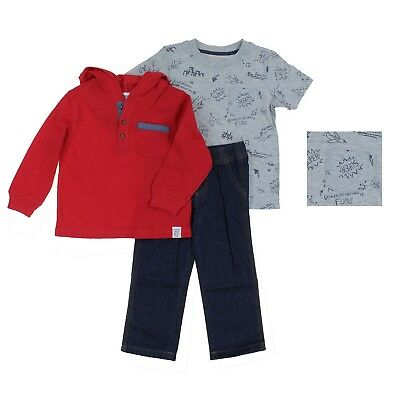 Carters Boys 3 Piece Outfit Set Long Sleeve T-Shirts Top-Red/Gray-2T-NWT