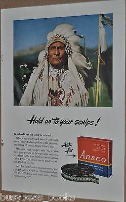 1947 Ansco movie film advertisement, Native American, hold on to your scalps