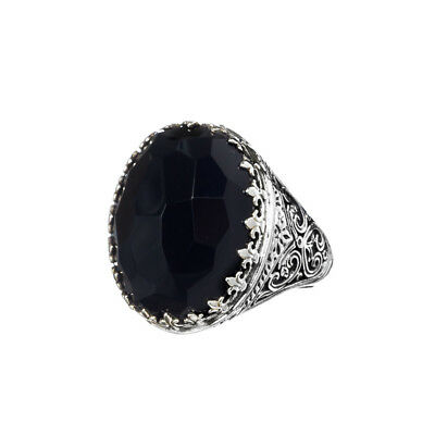 Gerochristo 2866N ~ Sterling Silver with Onyx Medieval-Byzantine Cocktail Ring