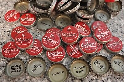 100 Hi Neighbor! Beer Bottle Caps Bright Red No Dents Narragansett Puzzle Backs