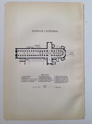 Norwich Cathedral, 1909 Original Antique Floor Plan, Bartholomew, Atlas, Norfolk