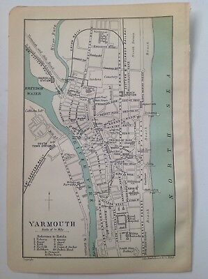 Yarmouth, 1909 Original Antique Street Map, Bartholomew, Atlas, England