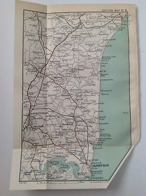 Aldeburgh, Dunwich, Saxmundham, 1909 Original Antique Map, Bartholomew, Atlas