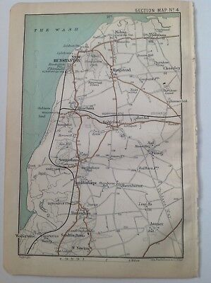 Environs of Hunstanton, Wolferton, 1909 Original Antique Map, Bartholomew, Atlas
