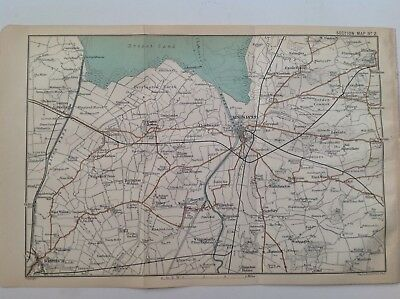Environs of Lynn,1909 Original Antique Map, Eastern Counties, Bartholomew, Atlas