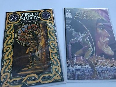 GREEN ARROW #1 (first series, Grell) plus 1991 Annual - comics, boarded, good